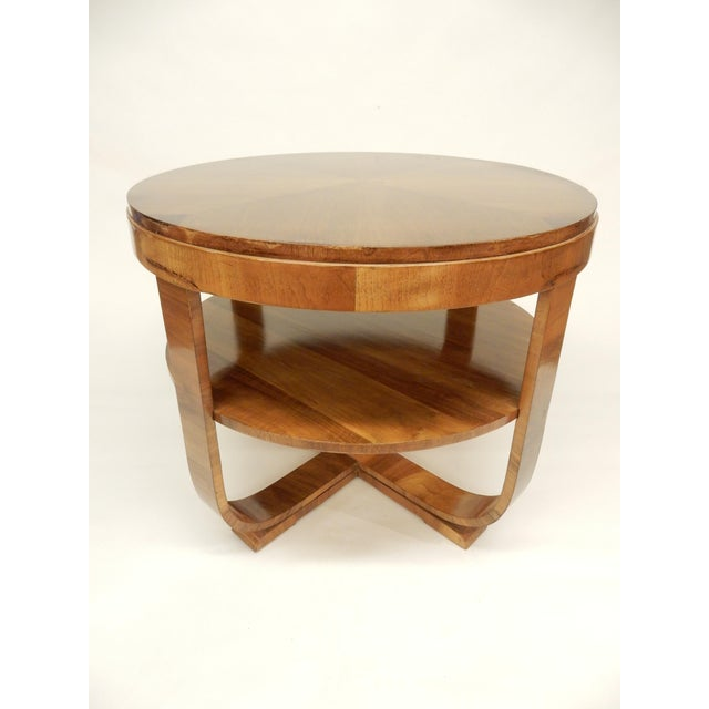 Art Deco Round Walnut Side Table For Sale - Image 10 of 10