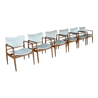 Set of Six Original Finn Juhl No. 48 Open Armchairs