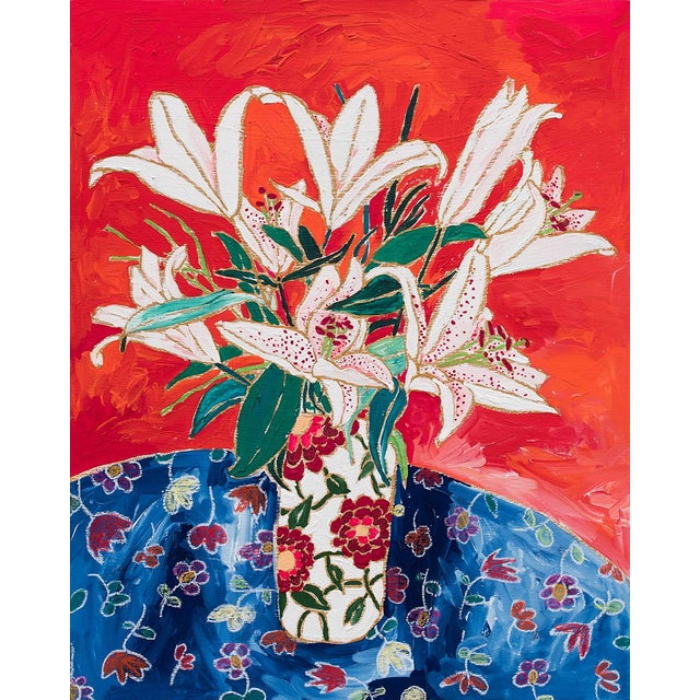 Blush Lily Bouquet on Orange Floral Still Life Painting For Sale