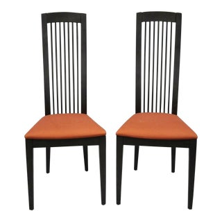 Late 20th C. Vintage s.p.a Tonon Black Danish Slat Back Italian Dining Chairs- A Pair For Sale