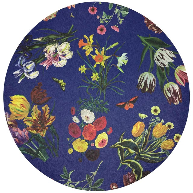 """Modern Nicolette Mayer Flora Fauna Blue 16"""" Round Pebble Placemats, Set of 4 For Sale - Image 3 of 3"""