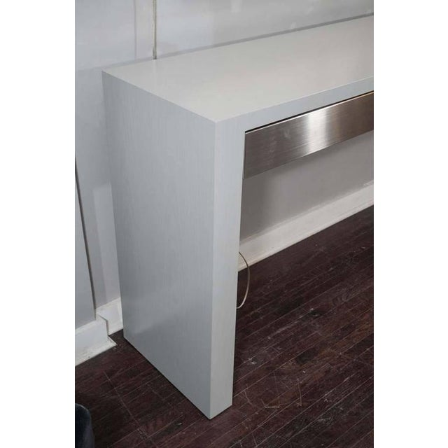 Custom Gray Stained Console with Brushed Stainless Steel Drawers For Sale In New York - Image 6 of 7