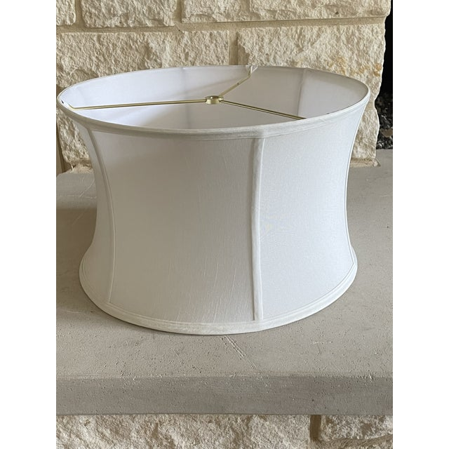 Silk Shantung Off White Curved Drum Shade With Brass Spider Fitter For Sale - Image 4 of 5