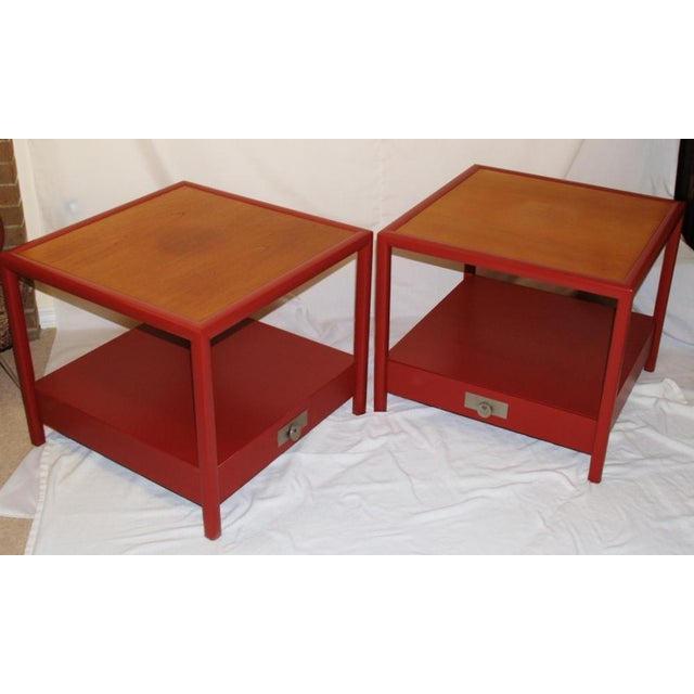 Red Michael Taylor for Baker Side Tables - a Pair For Sale - Image 8 of 8