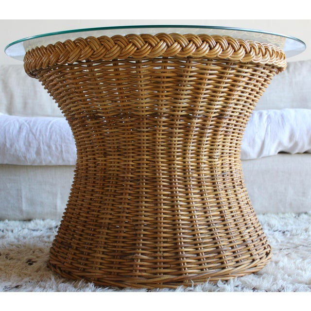 Rattan Vintage Mid Century the Wicker Works San Franisco Rattan Woven High End Tulip Side Table Albini Style For Sale - Image 7 of 7