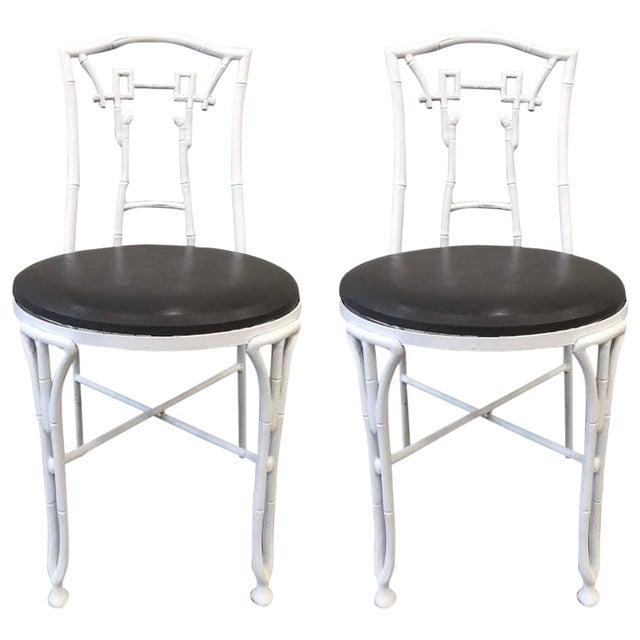 Pair of Asian Style Faux Bamboo Side Chairs For Sale