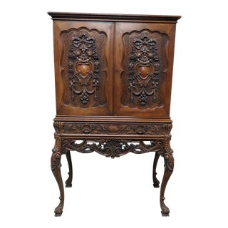 Victorian Style Carved Liquor Cabinet For Sale