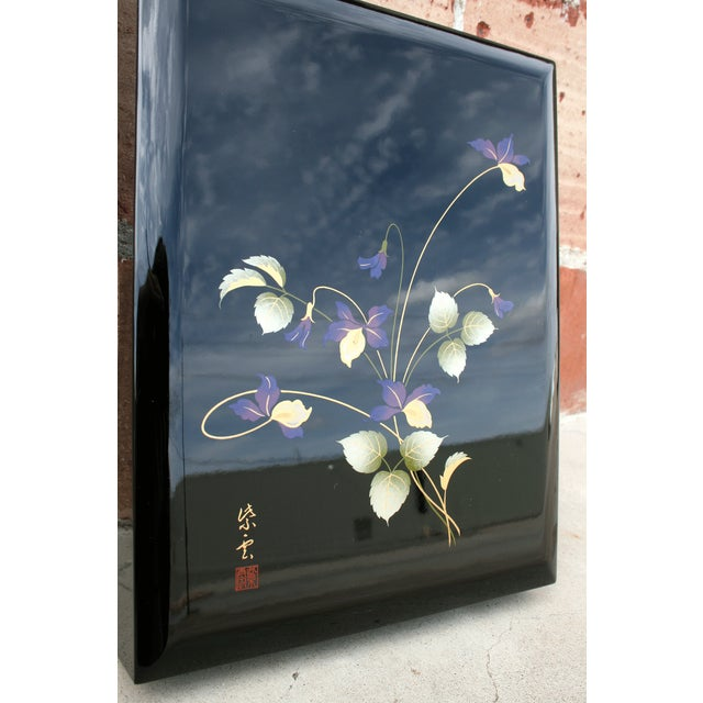 Asian Black Lacquer Stationery Box - Image 3 of 9