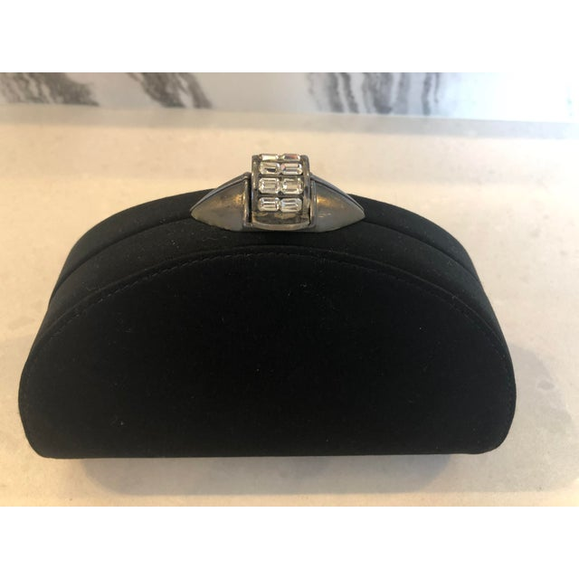 Rodo Black Silk Crystallized Clutch With Gunmetal Hardware For Sale In New York - Image 6 of 11
