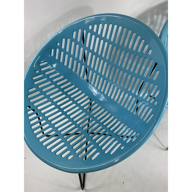 Mid-Century Modern Mid Century Howard Johnson Hotel Blue Solar Lounge Chairs- a Pair For Sale - Image 3 of 9