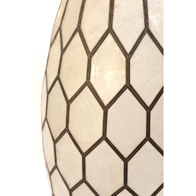 Large Vintage Bohemian Glam Capiz Shell Lampshade   Mid-Century Bullet Shape Lamp Shade   Chic Statement Lighting For Sale - Image 4 of 13