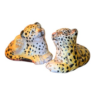 Mid-Century Italian Ceramic Leopards - A Pair For Sale