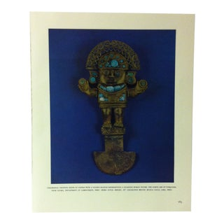 """Circa 1960 """"Ceremonial Chopping Knife - With a Golden Handle"""" Treasures of Ancient America Print For Sale"""