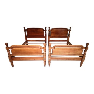 Vintage Harden Solid Cherry Tulip Finial Twin Beds - a Pair For Sale