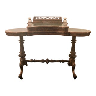 Antique English Burled Walnut Kidney-Shaped Desk, Circa 1870. For Sale