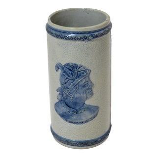 Late 19th Century Antique Old Sleepy Eye Stoneware Vase For Sale
