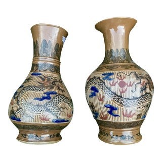Chinese Dragon Vases, Signed - a Pair For Sale