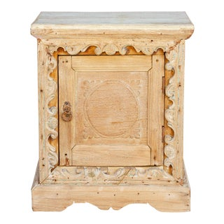 Bleached Wood Rosette Nightstand Cabinet For Sale