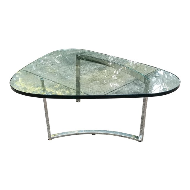 Mid-Century Modern Italian Glass & Chrome Boomerang Style Coffee Table - Image 1 of 10