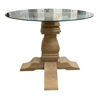 Wooden Trestle Dining Table with Pedestal and Glass Top For Sale