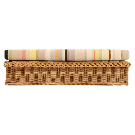 "Vintage Italian Les Toiles Du Soleil Upholstered ""Wicker Works"" Bench - Image 1 of 11"