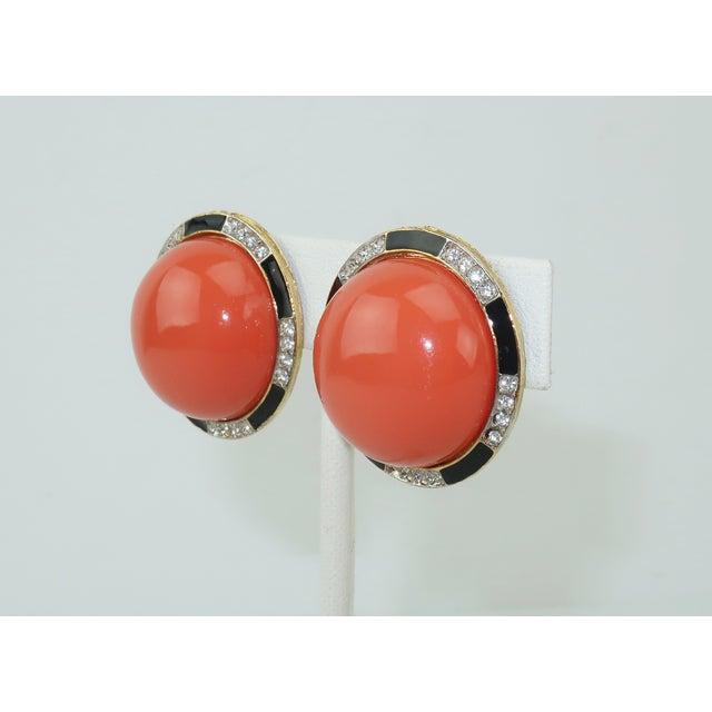 Art Deco Kenneth Jay Lane Art Deco Faux Coral & Rhinestone Earrings For Sale - Image 3 of 9
