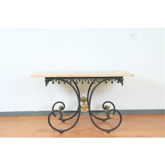 Wrought Iron & Marble Pastry Table For Sale - Image 4 of 8