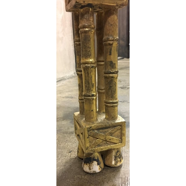 Wood Chinese Chippendale Style Gold Leaf Side Table For Sale - Image 7 of 8