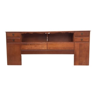 Mid Century Modern Headboard With Bookcase Shelf & Side Drawers For Sale