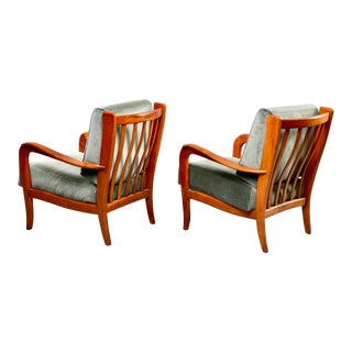 Mid Century Italian Cherrywood Lounge Chairs With Green Velvet Upholstery - a Pair For Sale