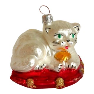 Cat on Pillow Christmas Ornament For Sale