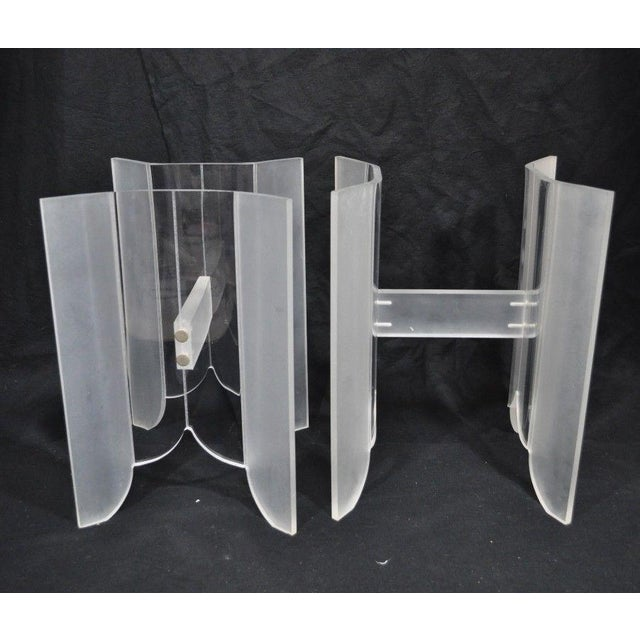 Vintage Pair Mid Century Modern Frosted Lucite & Glass Butterfly End Side Tables For Sale - Image 9 of 11