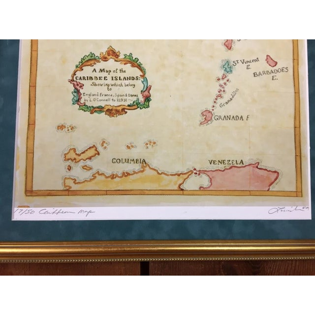 Watercolor Painting of Caribbean West Indies Map - Image 4 of 7