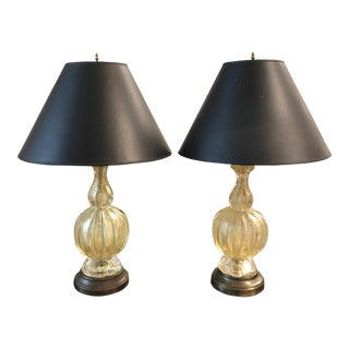 Murano Gold Glass Table Lamps - a Pair For Sale