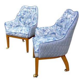 1960s Mid-Century Modern Blue and White Accent Chairs For Sale