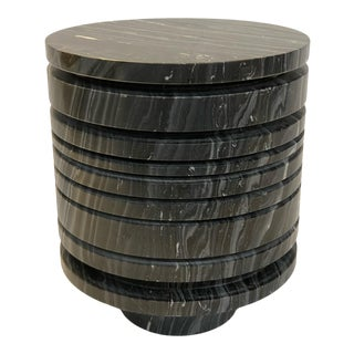 Contemporary Black Marble Striated Side Table For Sale