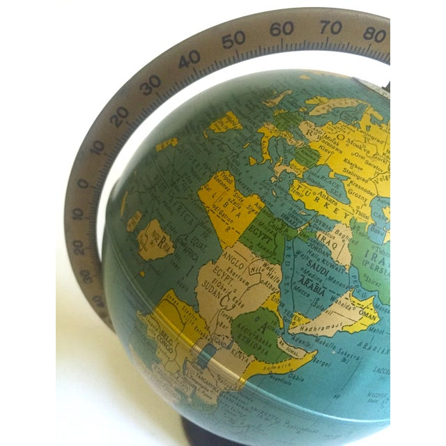 Globes For Sale >> Vintage Mid Century 1950 S Replogle Desktop Metal Stand Base Rotating World Globe