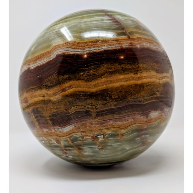 "1970s Large 25"" Solid Onyx Sphere (Ball) Sculpture For Sale - Image 5 of 8"