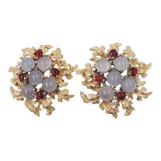 1960s Castlecliff Cabochon Faux-Moonstone and Faux-Ruby Earrings For Sale