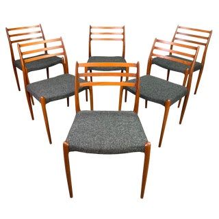 """Vintage Danish Mid Century Modern Teak Dining Chairs """"Model 78"""" by Niels O. Moller For Sale"""