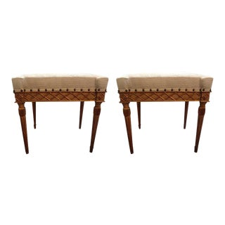 19th C. Italian Painted Giltwood Ottomans - A Pair
