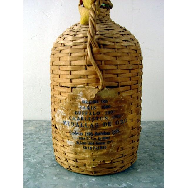 Vintage Bacardi Rum Wicker Covered Bottle - Image 4 of 5