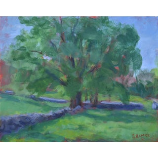 """""""Stone Walls Meet at the Big Tree"""" Contemporary Plein Air Acrylic Painting by Stephen Remick For Sale"""
