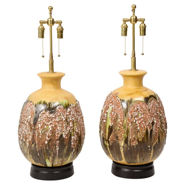 Extra Large Italian Volcanic Glazed Ceramic Lamps - a Pair For Sale - Image 9 of 9