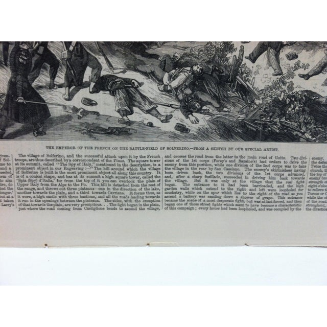 """English 1859 Antique """"The Emperor of the French on the Battle-Field of Solferino"""" The Illustrated London News Print For Sale - Image 3 of 5"""