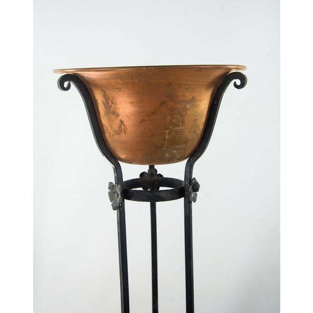 Gothic Antique Wrought Iron Copper Bowl Torchiere For Sale - Image 3 of 10