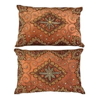 Pair of 2 Beaded Velvet Silk Pillows in Rust For Sale