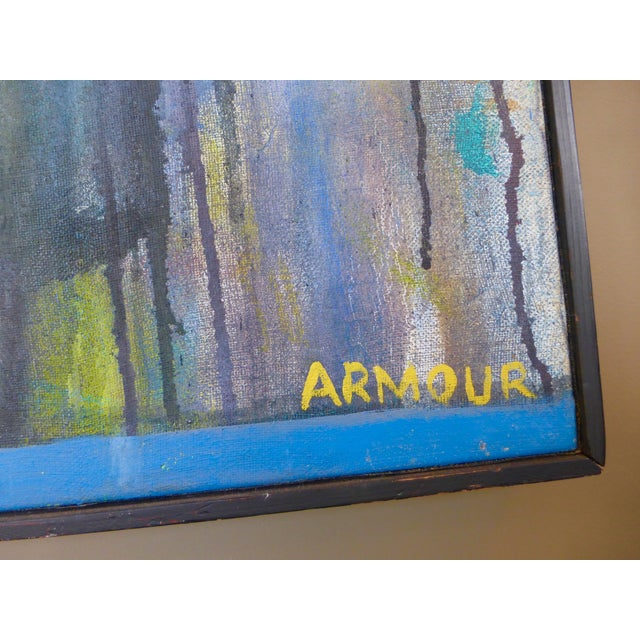 Mid-Century Abstract Oil Painting For Sale - Image 4 of 7