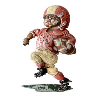 Vintage 1970s Metal Football Player Wall Art