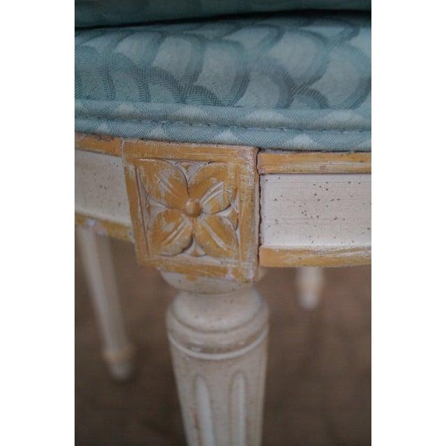 Vintage French Louis XVI Style Swivel Vanity Bench - Image 10 of 10